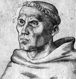 Martin Luther (1520 engraving by Lucas Cranach the Elder).