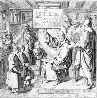Luther instructs children from the Small Catechism.