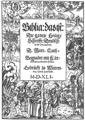 The front page of the 1541 edition of Luther's translation of the Bible.