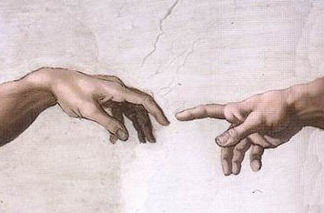 "Detail from Michelangelo's ""Creation of Adam."""