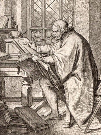 Martin Luther writing in the Wartburg.