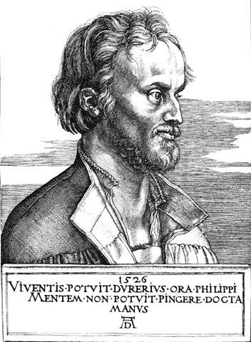 An engraving of Philip Melanchthon done by Albrecht Dürer.