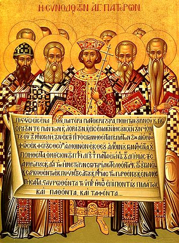 Icon of the First Nicene Council, which adopted the Nicene Creed.